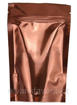 Пакет дой-пак металлизированный коричневый глянцевый с замком zip-lock, фото 2