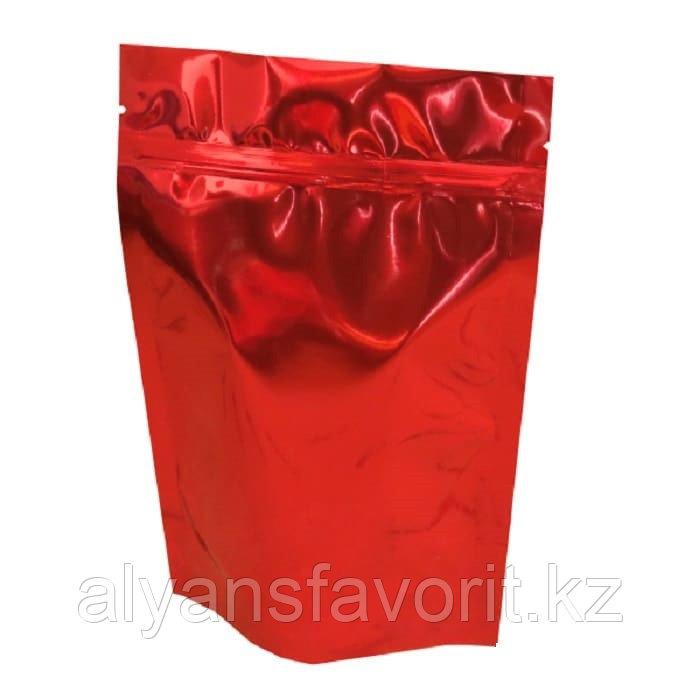 Пакет дой-пак металлизированный красный глянцевый с замком zip-lock
