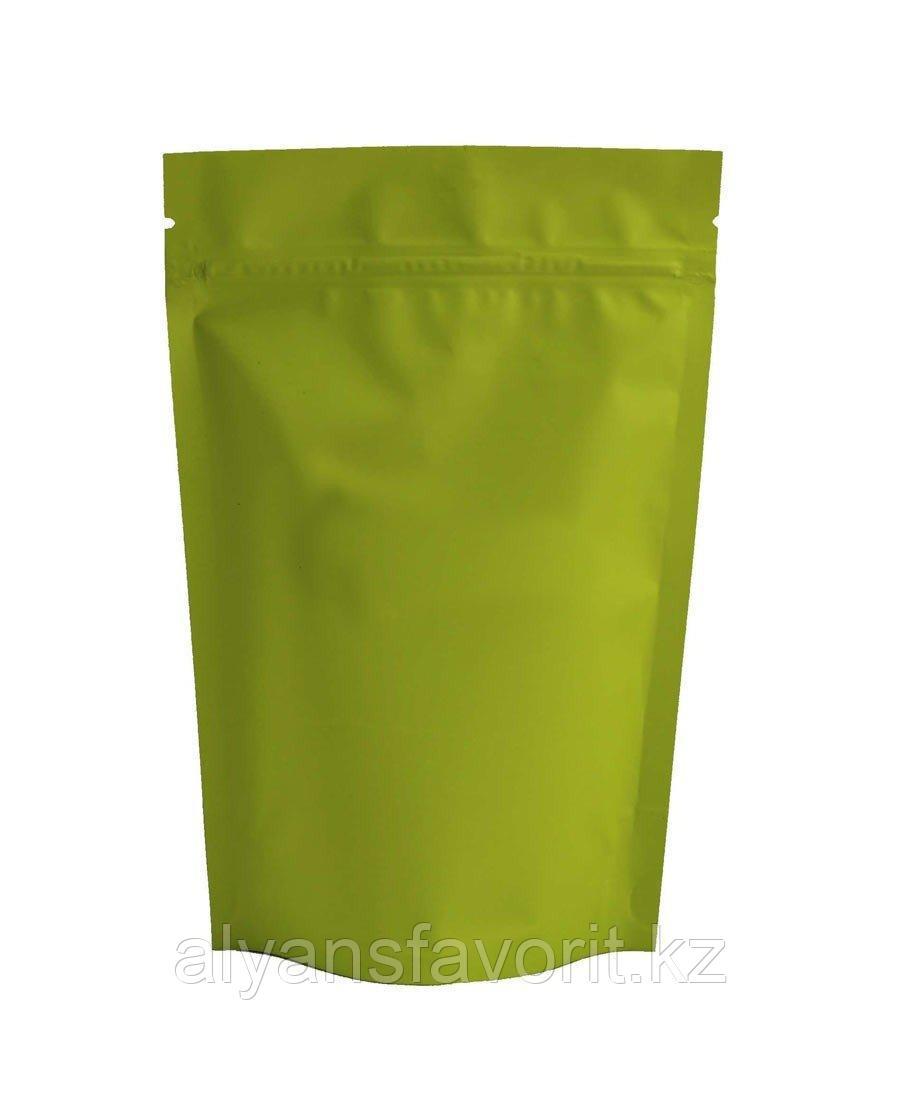 Пакет дой-пак металлизированный салатовый матовый с замком zip-lock