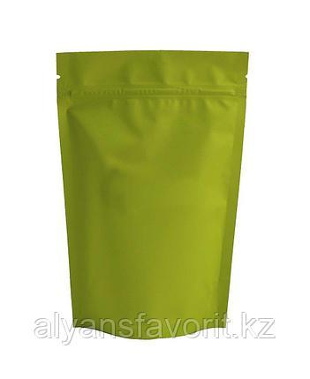 Пакет дой-пак металлизированный салатовый матовый с замком zip-lock, фото 2