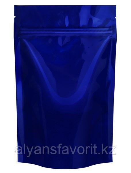 Пакет дой-пак  металлизированный темно синий (процесс) матовый с замком zip-lock