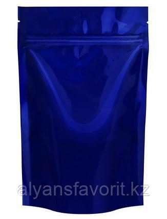 Пакет дой-пак  металлизированный темно синий (процесс) матовый с замком zip-lock, фото 2