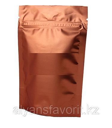 Пакет дой-пак металлизированный терракотовый матовый с замком zip-lock, фото 2