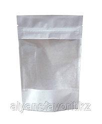 Пакет дой-пак бумажный белый c окном 100 мм и с замком zip-lock