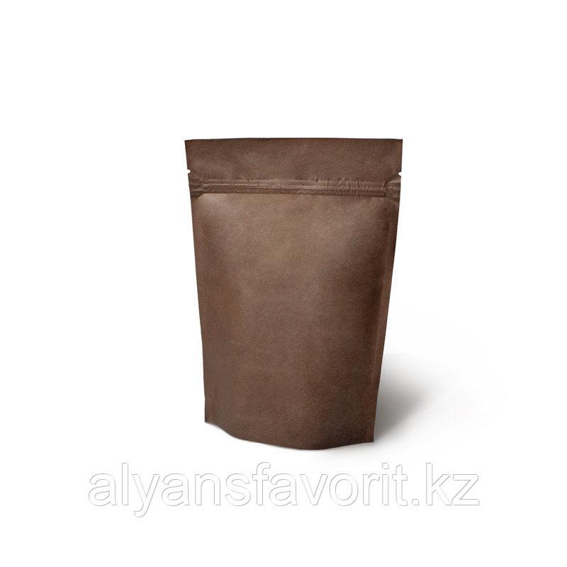 Пакет дой-пак бумажный темно коричневый внутри металлизированный с замком zip-lock