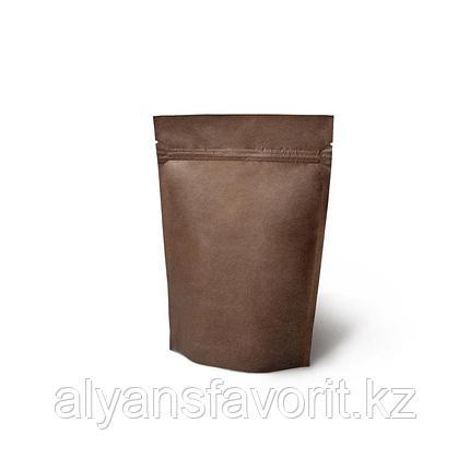 Пакет дой-пак бумажный темно коричневый внутри металлизированный с замком zip-lock, фото 2