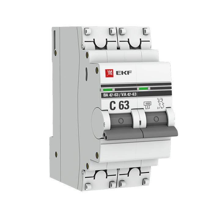 Автоматический выключатель 2P 16А (C) 4,5kA ВА 47-63 EKF PROxima