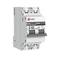 Автоматический выключатель 2P 16А (C) 4,5kA ВА 47-63 EKF PROxima, фото 1