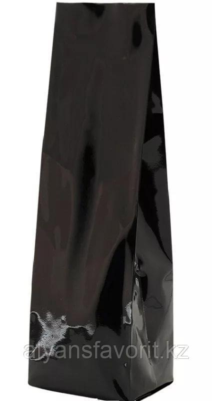 Пакет дой пак металлизированный черный глянцевый с центральным швом (двухшовный)