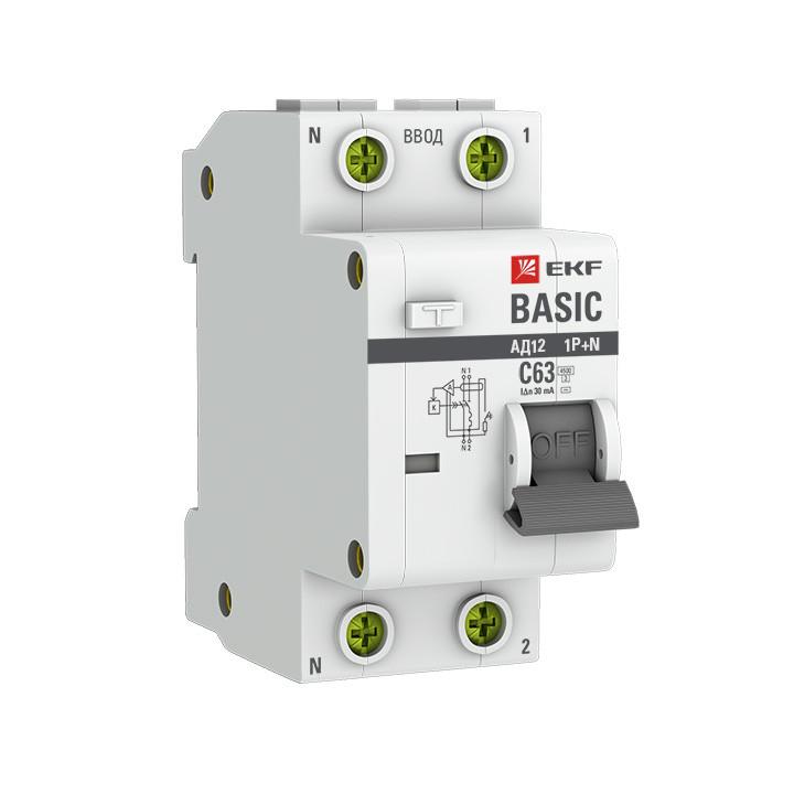 Дифференциальный автомат 1P+N 25А 30мА тип АС х-ка C эл. 4,5кА АД-12 EKF Basic