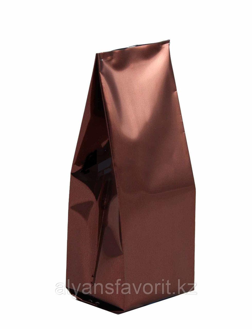 Пакет дой пак металлизированный коричневый глянцевый с центральным швом (двухшовный)