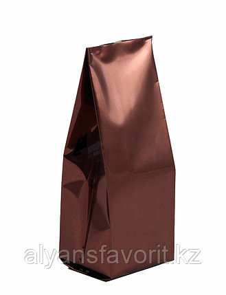 Пакет дой пак металлизированный коричневый глянцевый с центральным швом (двухшовный), фото 2