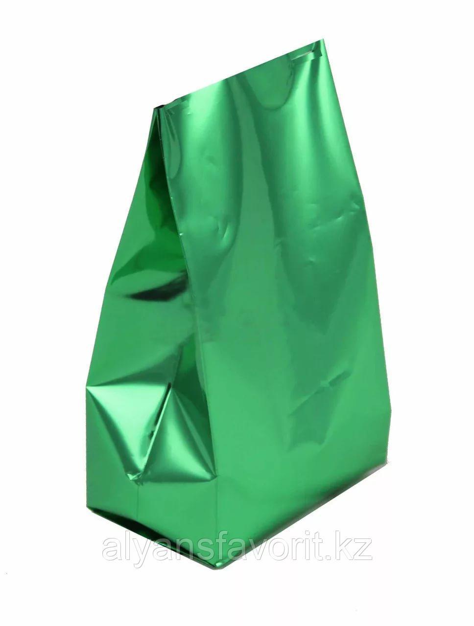 Пакет дой пак металлизированный зеленый глянцевый с центральным швом (двухшовный)