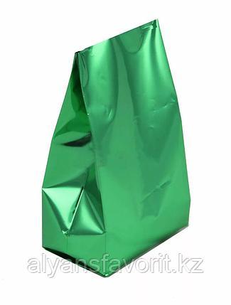 Пакет дой пак металлизированный зеленый глянцевый с центральным швом (двухшовный), фото 2
