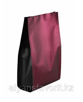 Пакет дой-пак пятишовный с пропаянными гранями коричневый матовый с черными боковыми фальцами, фото 2