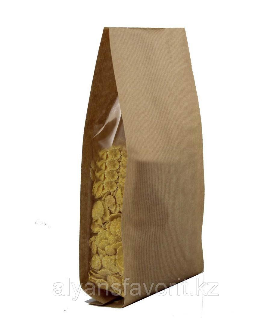 Пакет пятишовный с пропаянными гранями бумажный с прозрачными боковыми фальцами