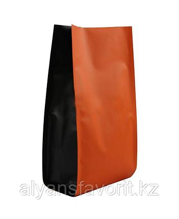 Пакет металлизированный пятишовный с пропаянными гранями оранжевый матовый с черными боковыми фальцами, фото 2