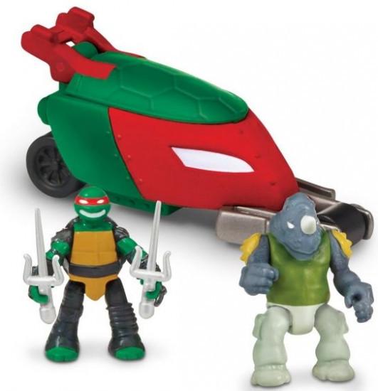 Мотоцикл Turtles Стелз с фигурками Рафа и Рокстеди