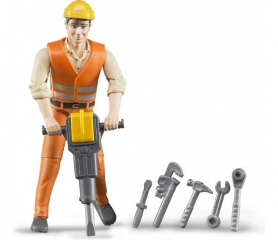 Фигурка Брадер (Bruder) строителя с аксессуарами