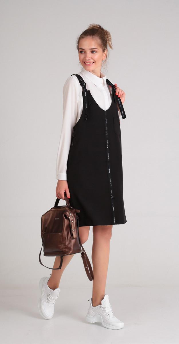 Костюм Andrea Style-00177, черный-белый, 42
