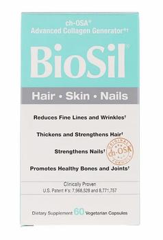 BioSil by Natural Factors, ch-OSA, улучшенный источник коллагена, 60 вегетарианских капсул.