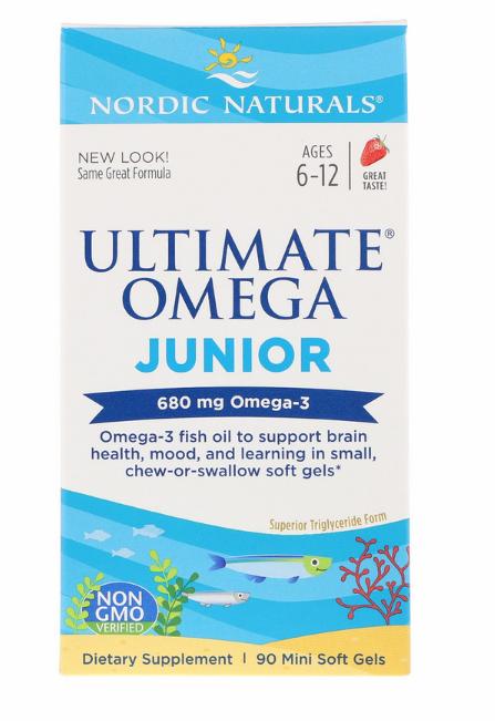 Nordic Naturals, Ultimate Omega, Junior, 680 мг, 90 жеательных таблеток в мягкой оболочке.