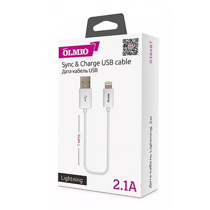 Кабель OLMIO 038655 Lightning USB iphone, фото 2