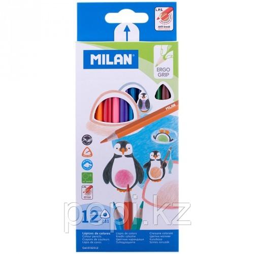 Карандаши цветные Milan 12цв. трехгранный грифель