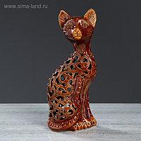 """Статуэтка """"Кот"""", коричневая, резка, 32 см"""