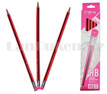Простые карандаши с розовым ластиком 12 штук в упаковке Yalong 191301 (HB)