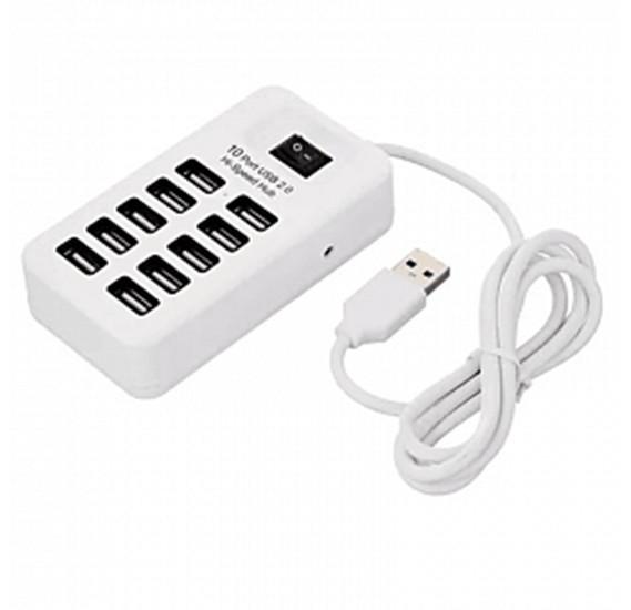 Разветвитель USB HUB c выключателем на 10 портов белый P-1603