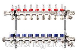 Коллектор с расходомерами Mixell из нержавеющей стали, 9 контуров