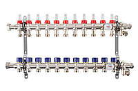 Коллектор с расходомерами Mixell из нержавеющей стали, 11 контуров