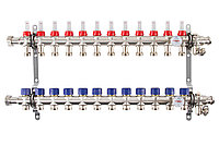 Коллектор с расходомерами Mixell из нержавеющей стали, 12 контуров