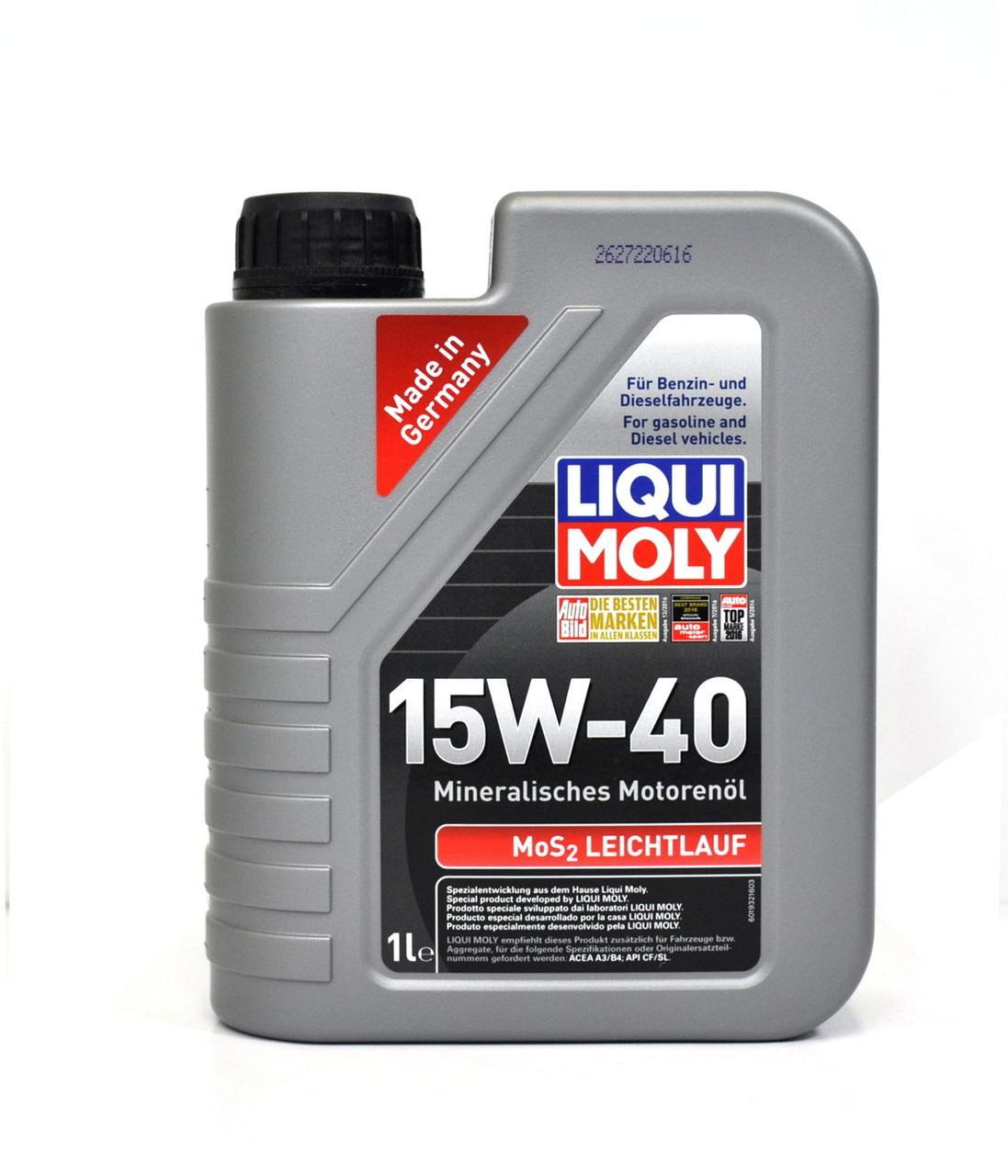 Моторное масло LIQUI MOLY MoS2 Leichtlauf 15W40 с молибденом 1L
