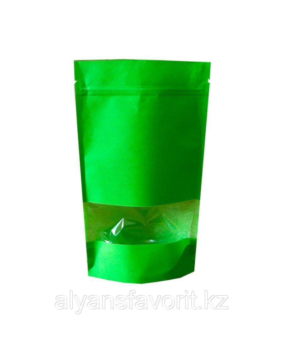 Пакет дой-пак бумажный зеленый с окном 40 мм и с замком zip-lock