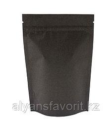 Пакет дой-пак бумажный черный внутри металлизированный с замком zip-lock