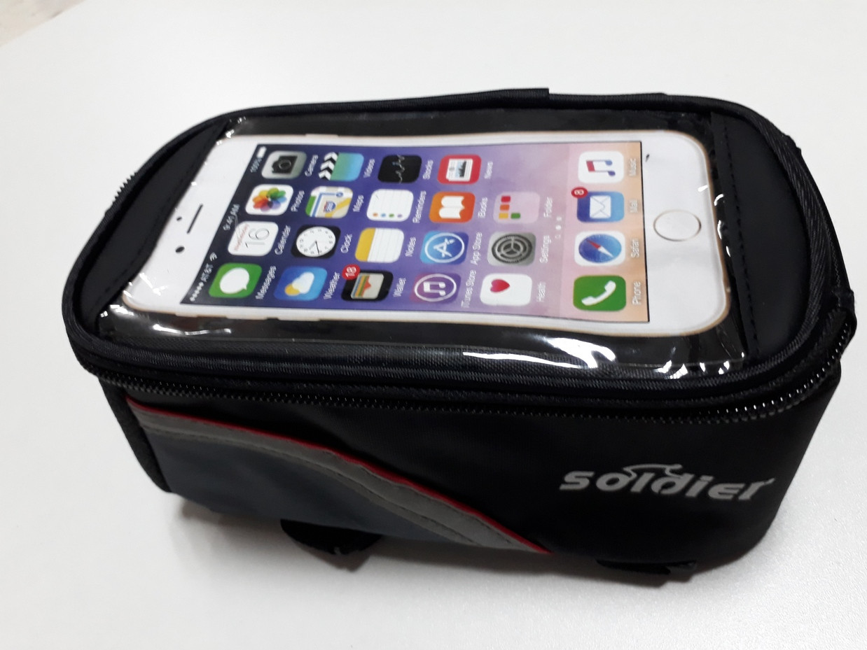 Сумка для велосипеда Soldier на раму с держателем телефона. Рассрочка. Kaspi RED.