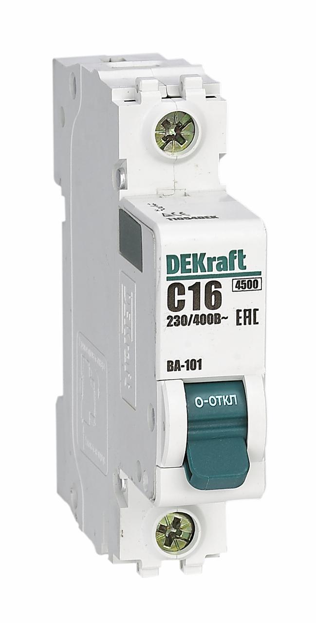 Выключатель автоматический модульный 1п C 6А 4.5кА ВА-101 DeKraft 11052DEK