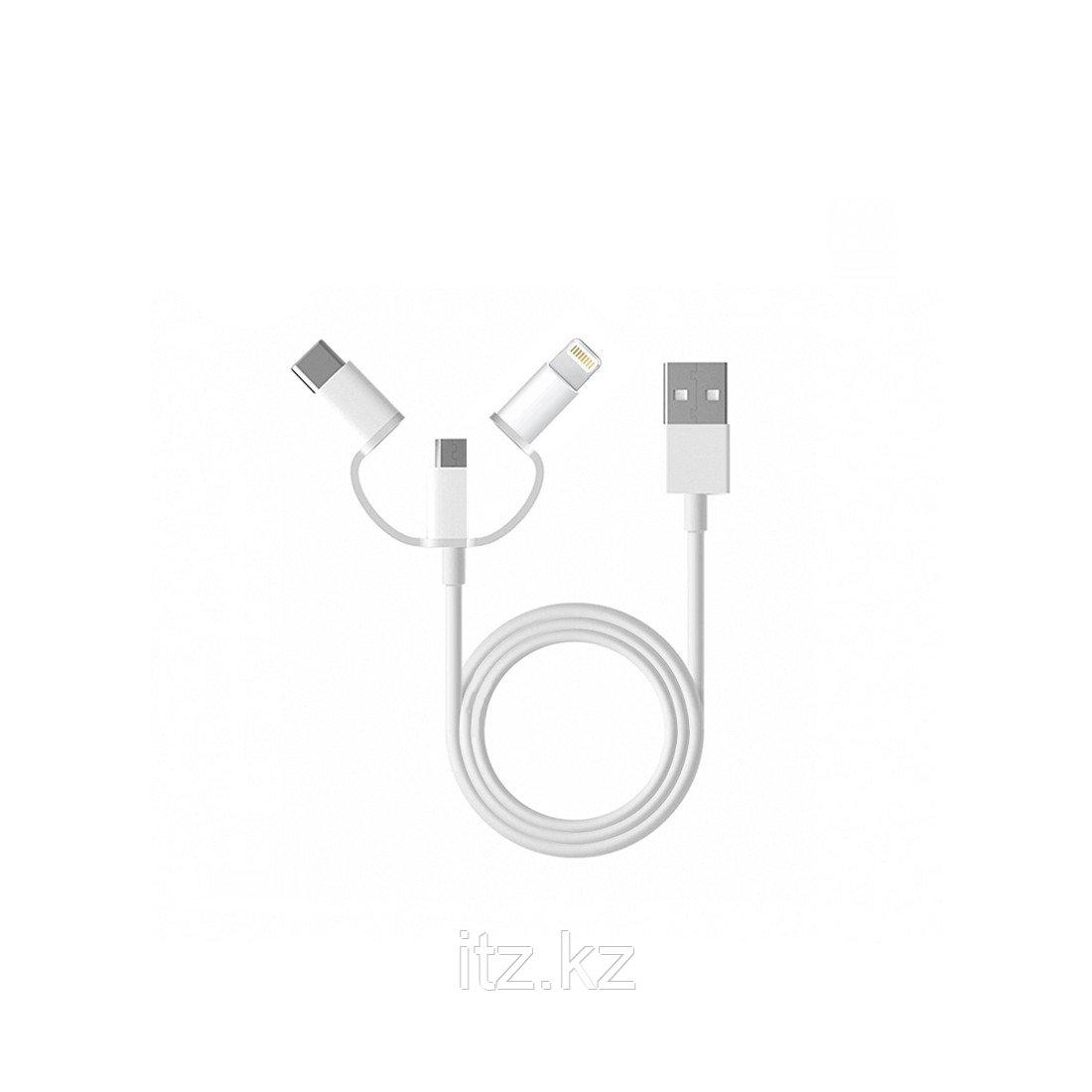 Интерфейсный кабель Xiaomi Lighting/Type-C/Micro-USB 100cm 3 в 1 Белый