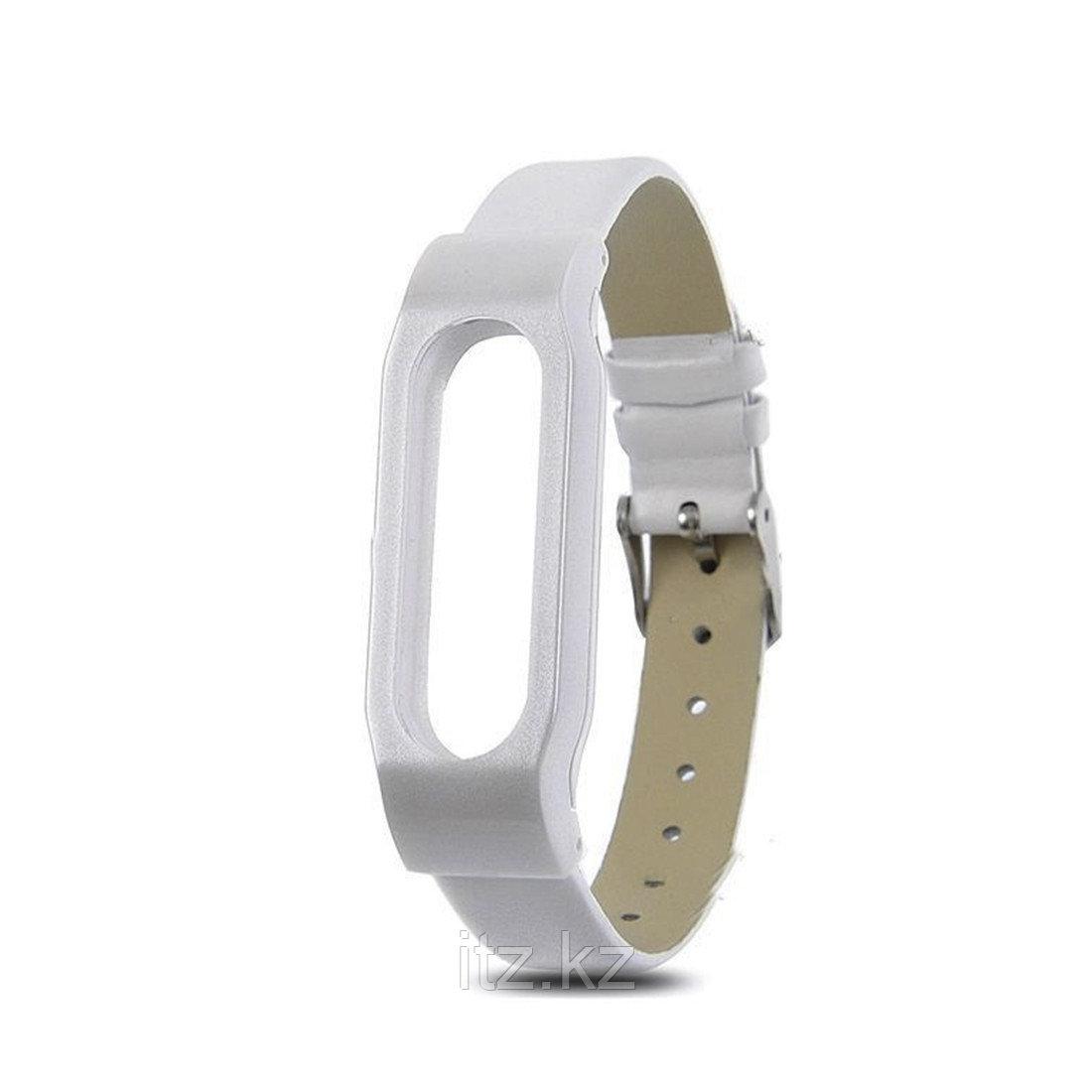 Сменный кожаный браслет для Xiaomi Mi Band 2 Белый