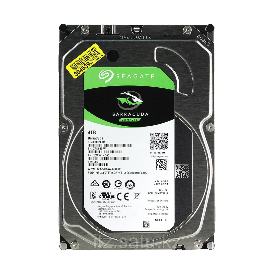 "Жёсткий диск HDD 4Tb Seagate Barracuda SATA6Gb/s 5400rpm 256Mb 3,5"" ST4000DM004"