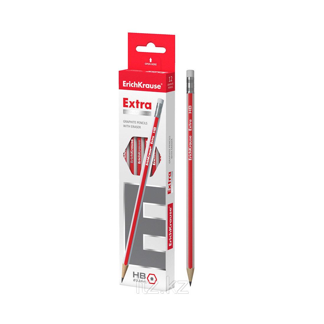 Чернографитный шестигранный карандаш с ластиком ErichKrause