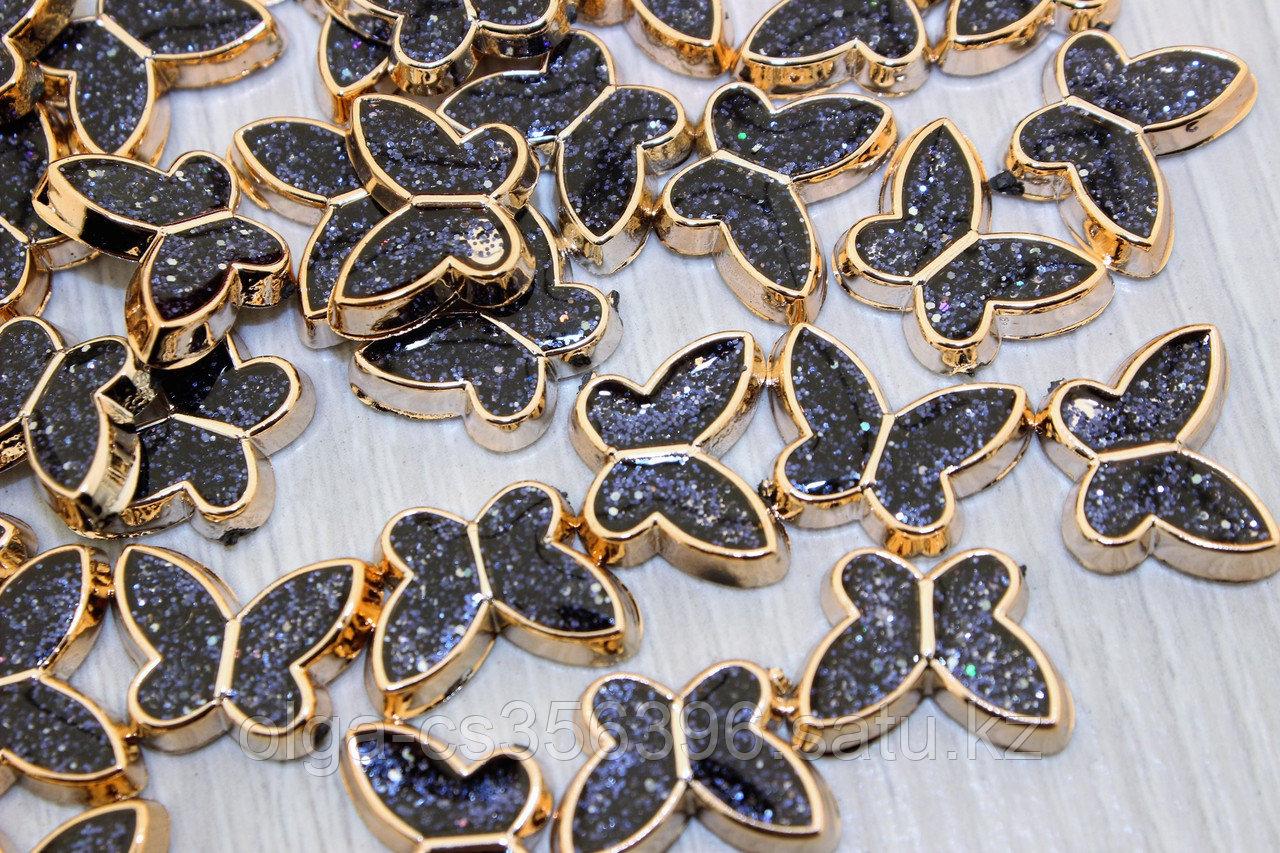 Кабошоны флоризель пластик+акрил, цв.золото 11*19 мм.  Creativ 2709