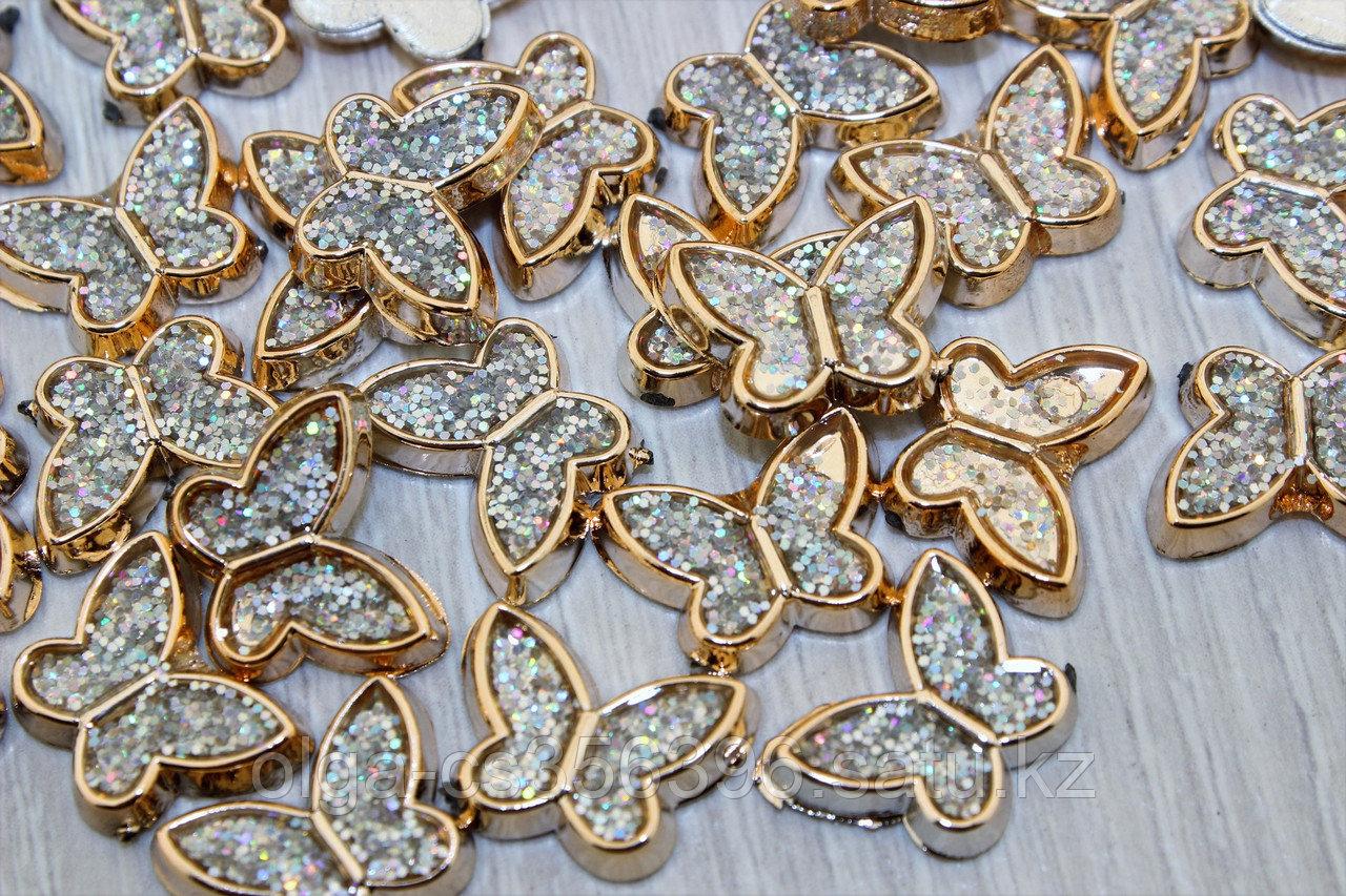 Кабошоны флоризель пластик+акрил, цв.золото 11*19 мм,.  Creativ 2710