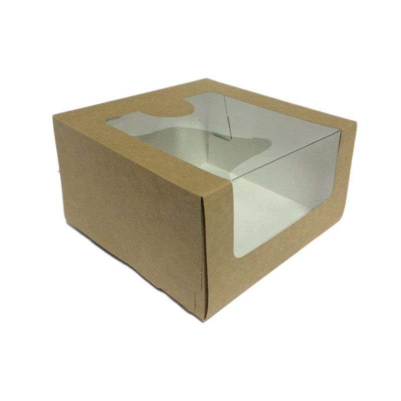 Коробка Pasticciere 180х180х100мм КТ 100 (с окном), крафт, 120 шт