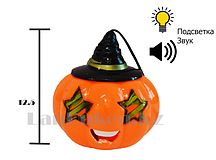 Музыкальный светящийся фонарь на хэллоуин в виде тыквы на веревке  (высота 12.5 см) в ассортименте