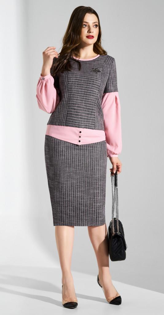 Костюм Lissana-3607, серый-розовый, 52