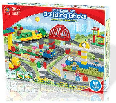 """Конструктор Building Bricks аналог Лего Дупло LEGO DUPLO Набор """"Большой поезд"""" с Мостом 152 деталей."""