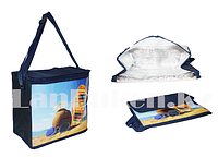 Сумка холодильник 34*29*16 см (термосумка) тёмно синяя с пляжным принтом